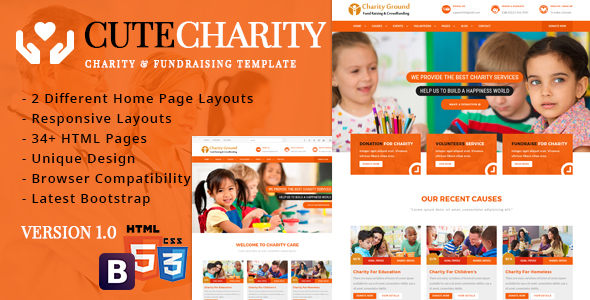 Image of CuteCharity - Charity And Fundraising HTML5 Responsive Template