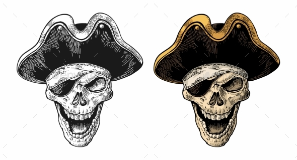 Skull in Pirate Clothes Eye Patch and Hat Smiling - Miscellaneous Vectors