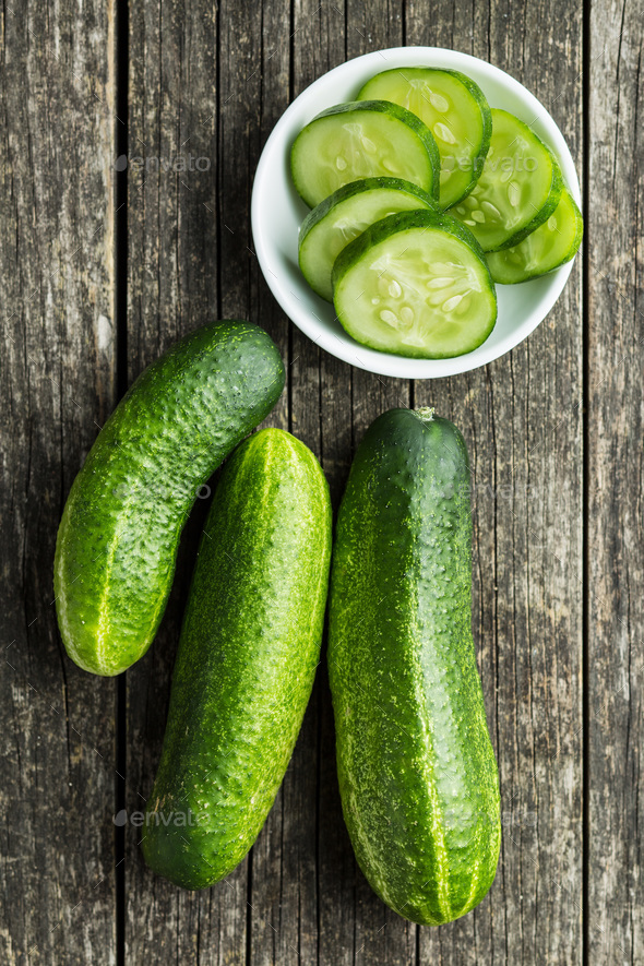 Sliced green cucumbers. - Stock Photo - Images