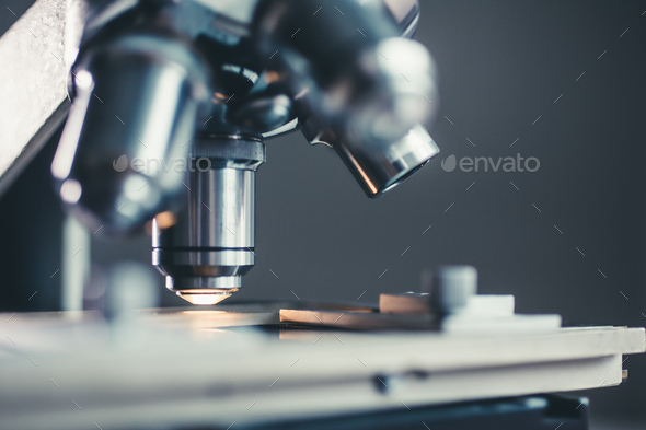 Close-up shot of microscope - Stock Photo - Images