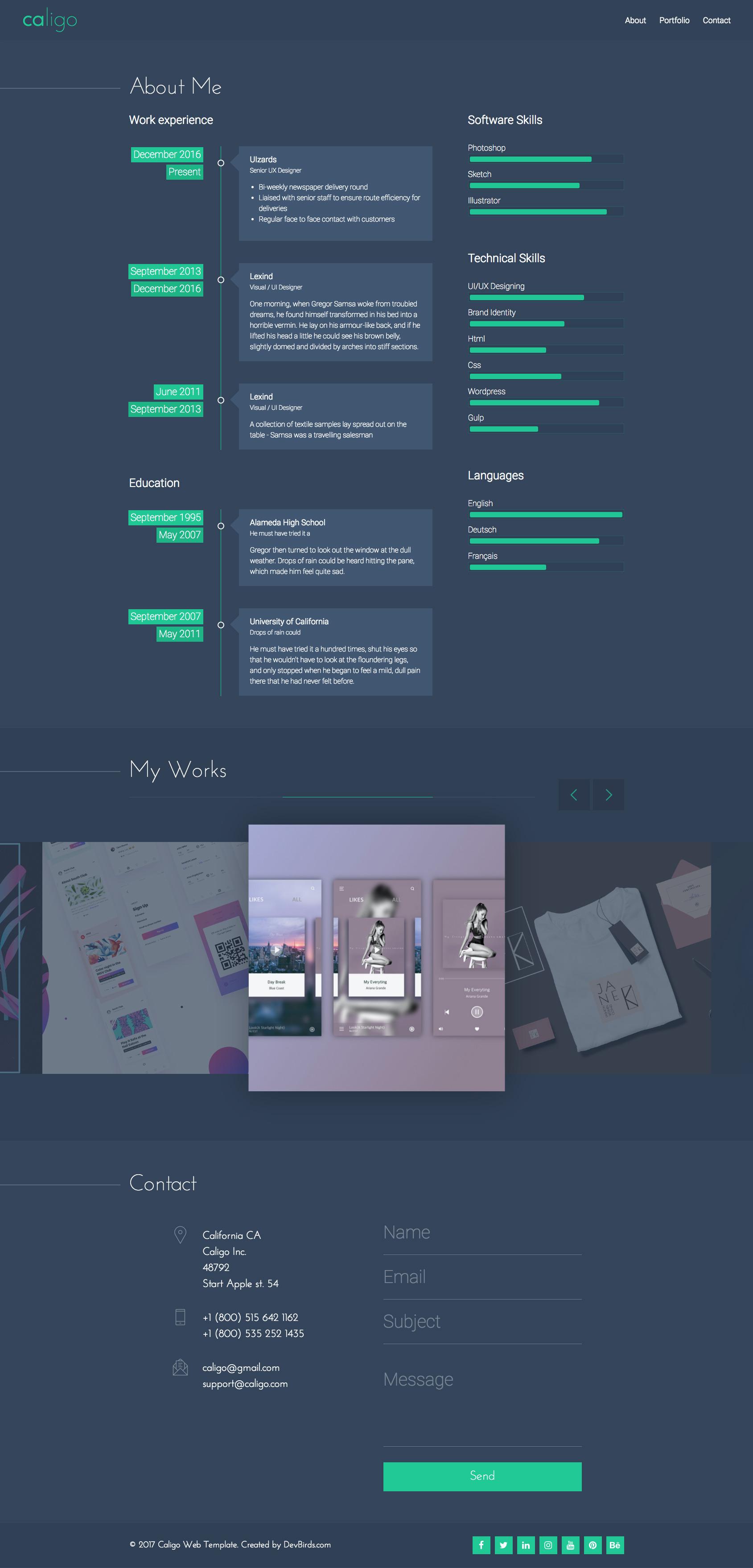 Caligo - Portfolio / Resume & CV, Bootstrap 4 by DevBirds | ThemeForest