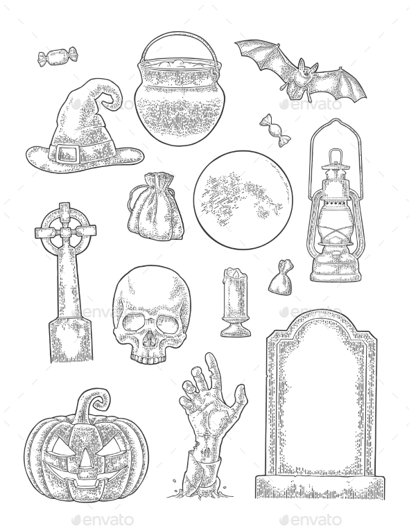 Set for Halloween Party - Miscellaneous Vectors