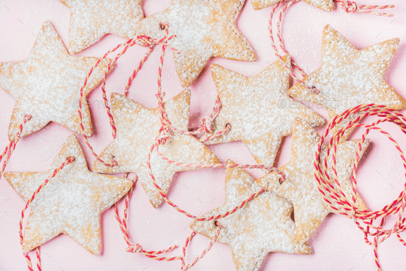 Close-up of Christmas gingerbread star shaped cookies - Stock Photo - Images