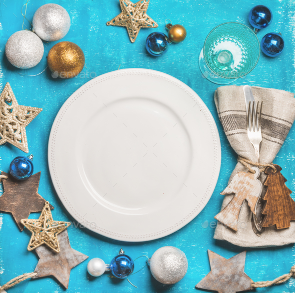 Christmas, New Year holiday background with white plate in center - Stock Photo - Images