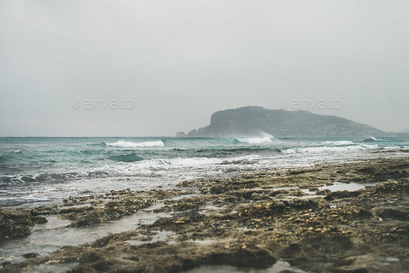 Stormy winter day at Mediterranean sea coast in Alanya, Turkey - Stock Photo - Images