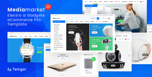 Media Market – Electronics and Gadgets eCommerce PSD template - Retail PSD Templates