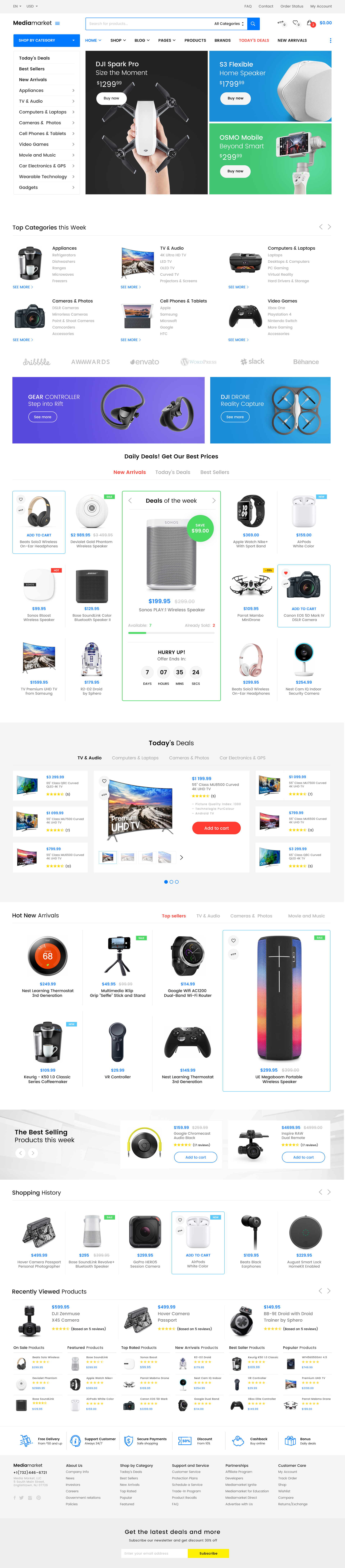 Media Market Electronics And Gadgets Ecommerce Psd Template By Tenigor