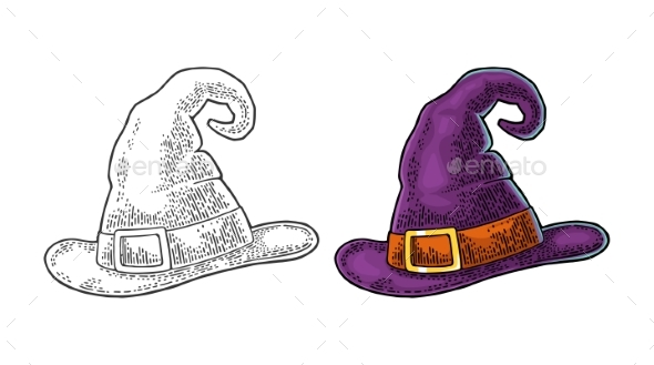 Halloween Witch Hat with Buckle - Man-made Objects Objects