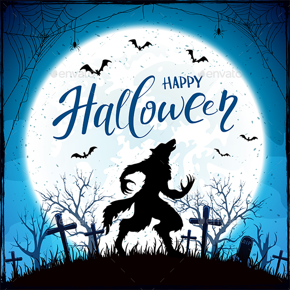 Happy Halloween with Werewolf and Bats on Blue Moon Background - Halloween Seasons/Holidays