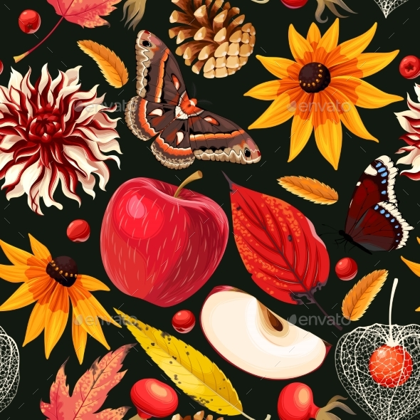 Autumn Pattern with Leaves and Flowers - Flowers & Plants Nature