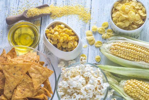 Variation of maize products - Stock Photo - Images