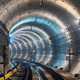 The turn of the new underground tunnel with blue light - PhotoDune Item for Sale