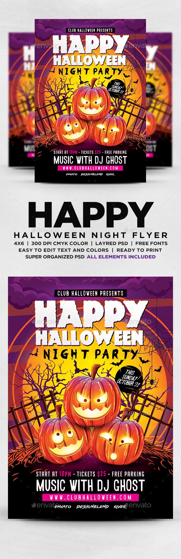 Halloween Night Party Flyer - Flyers Print Templates
