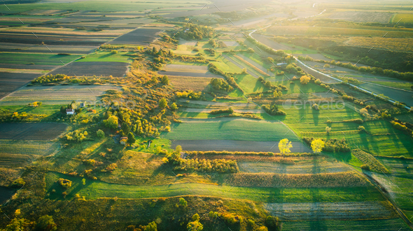 Crop field in autumn. On top. - Stock Photo - Images