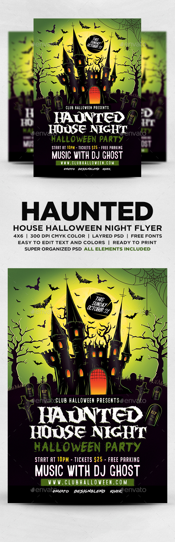 Haunted House Night Party Flyer - Events Flyers