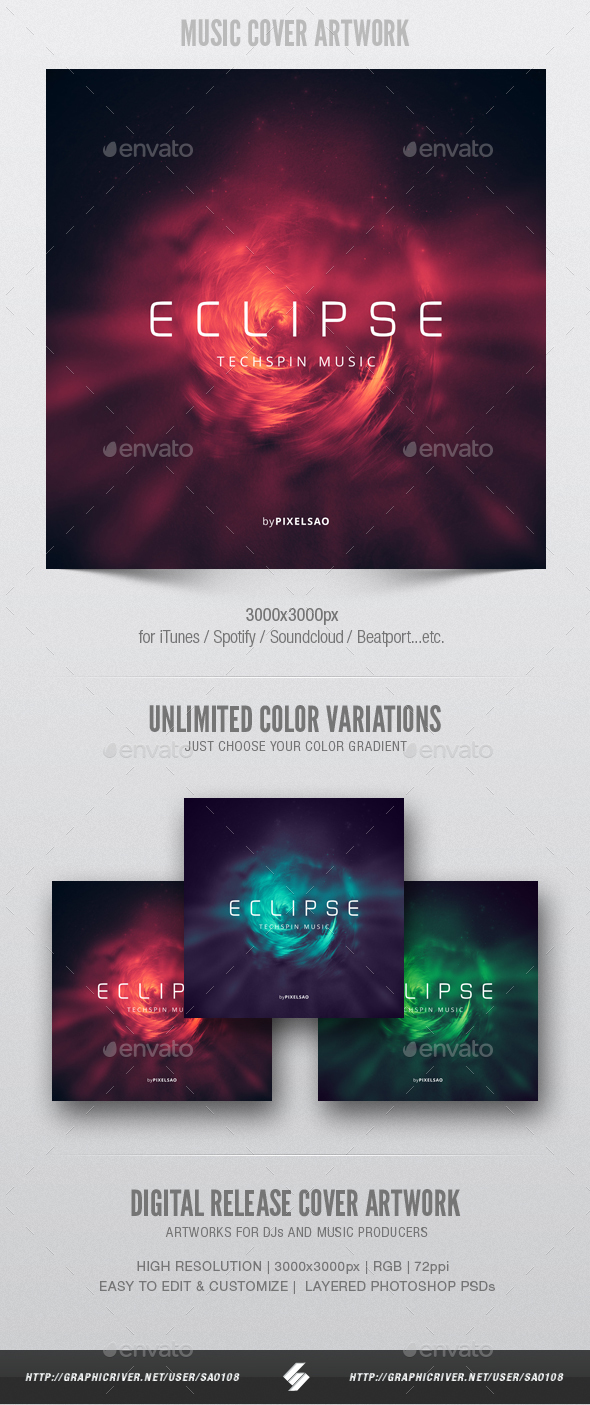 GraphicRiver Eclipse Music Cover Artwork Template 20804754