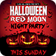 Halloween Red Moon Night Party Flyer