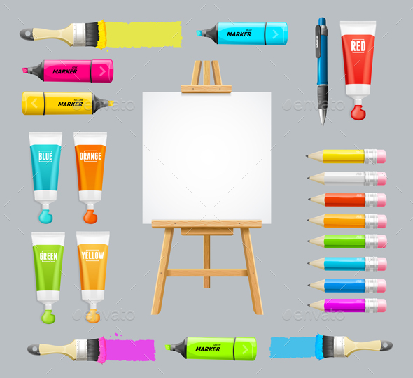 GraphicRiver Board Easel Blank Empty and Painting Accessories Set Vector 20804956