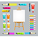 Board Easel Blank Empty and Painting Accessories Set. Vector