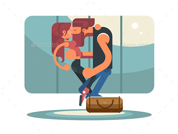 Happy Couple Kissing in Elevator - People Characters