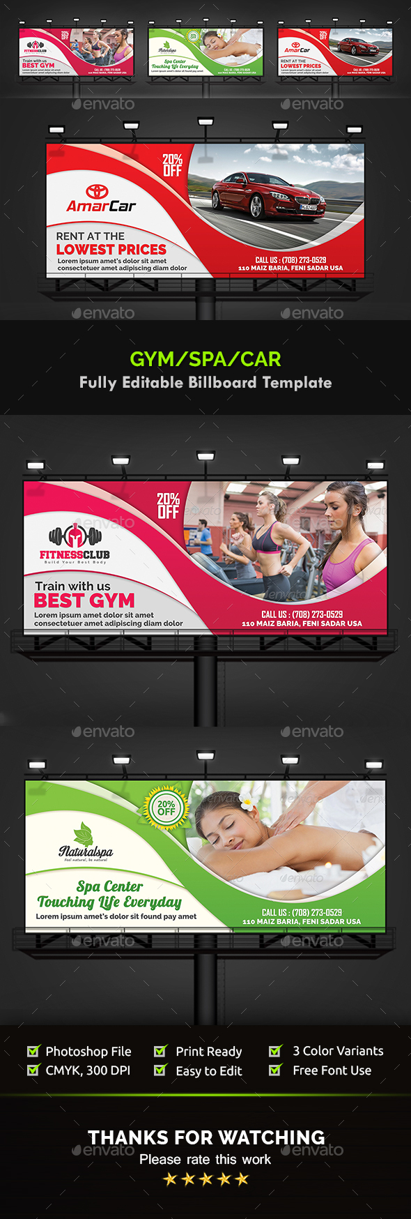 Gym, Spa & Car Billboard Templates - Signage Print Templates