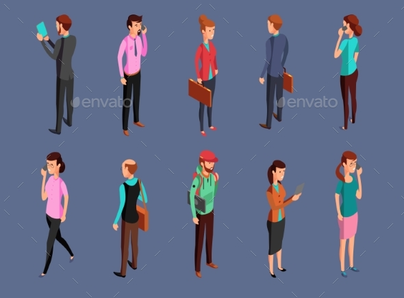 Different Office People Standing and Using Gadgets - Miscellaneous Vectors