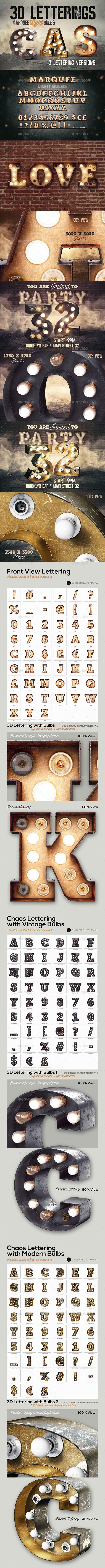 GraphicRiver 3 Light Bulbs 3D Letterings 20805174