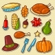 Set of Happy Thanksgiving Day Holiday Objects