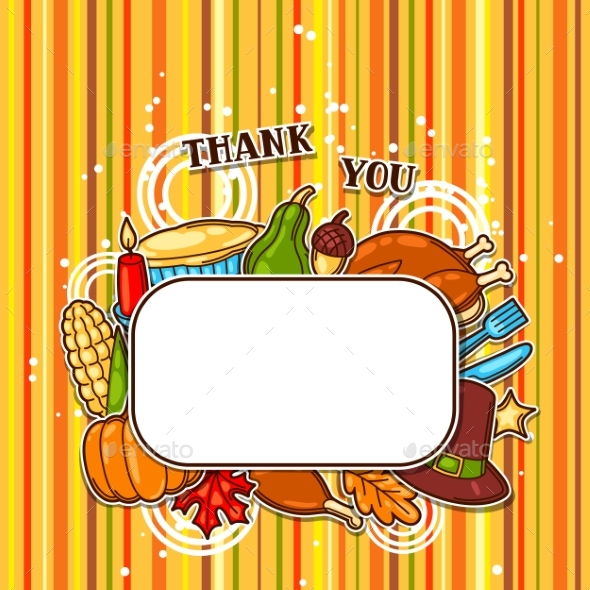Happy Thanksgiving Day Frame with Holiday Objects - Seasons/Holidays Conceptual
