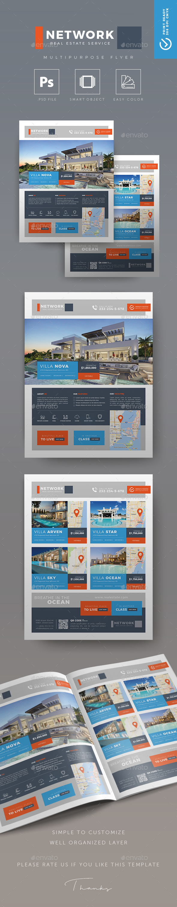 Network - Creative Real Estate Flyer - Commerce Flyers