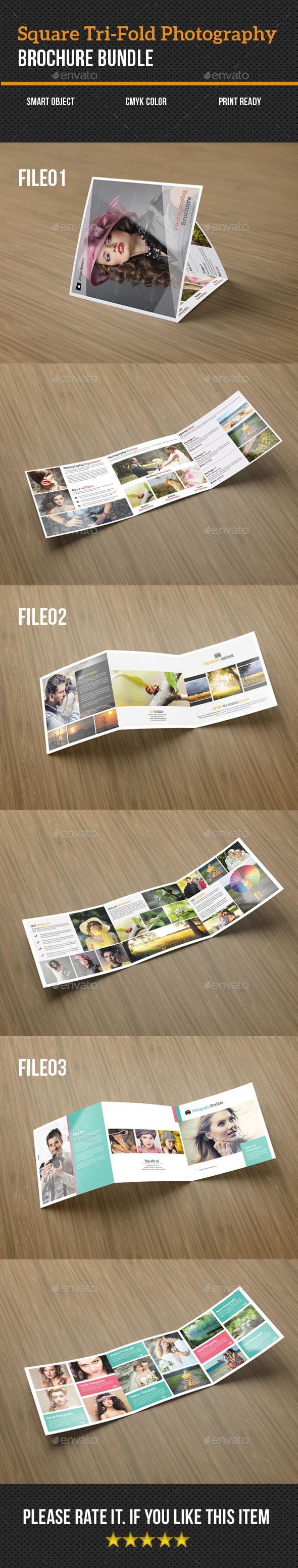 Square Tri-Fold Photography Brochure Bundle - Brochures Print Templates