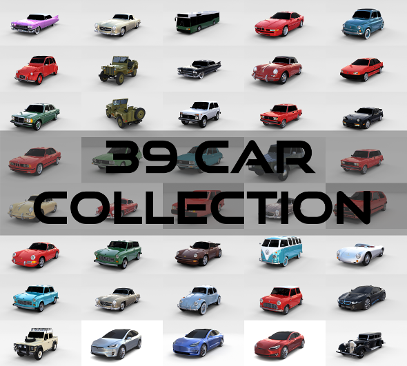 39 Car High Detail Collection - 3DOcean Item for Sale