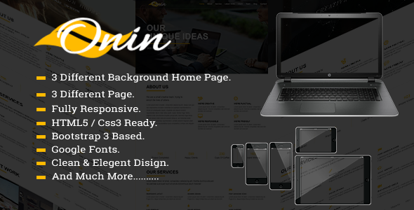 Onin - Responsive Onepage Bootstrap Template.