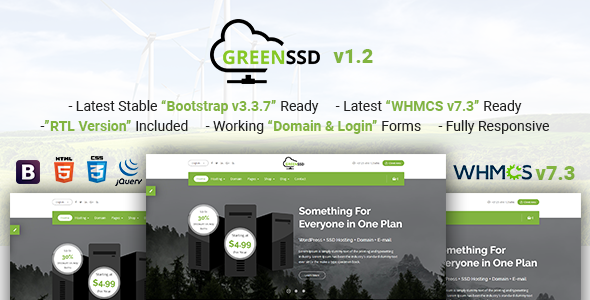 Image of GREENSSD | Multipurpose Technology, Hosting Business with WHMCS Template