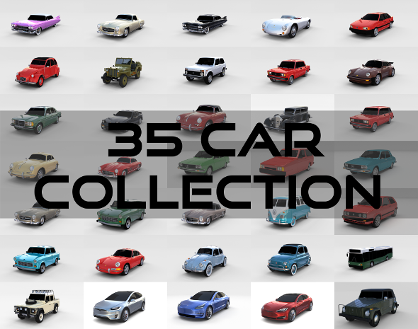 35 Car High Detail Collection - 3DOcean Item for Sale