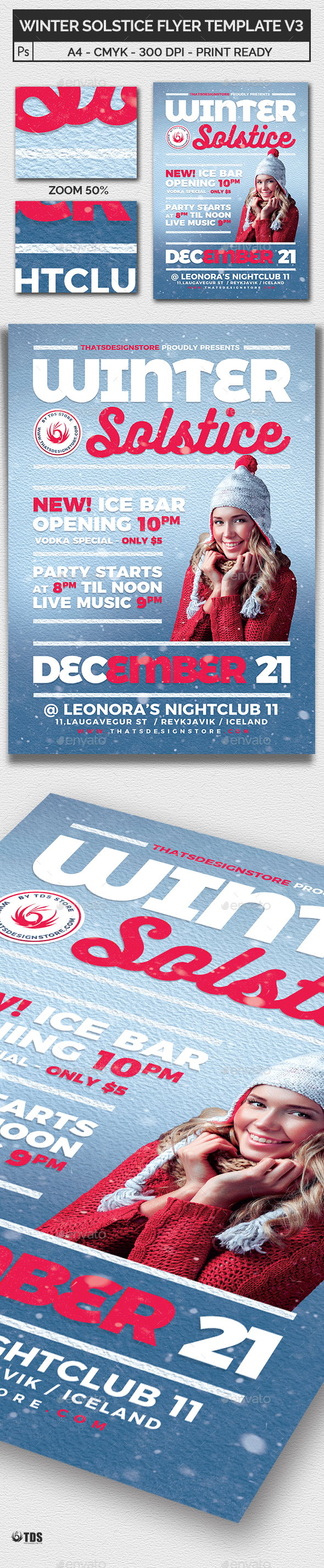 Winter Solstice Flyer Template V3 - Clubs & Parties Events