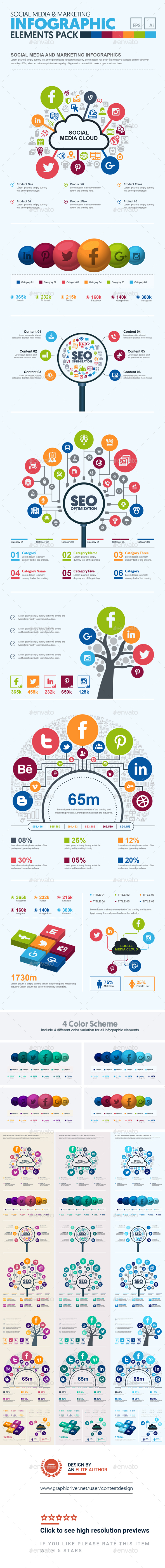 GraphicRiver Social Media SEO & Marketing Infographic Elements Template Pack 20806013