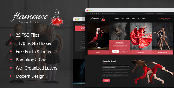 Flamenco – Dance School PSD Template