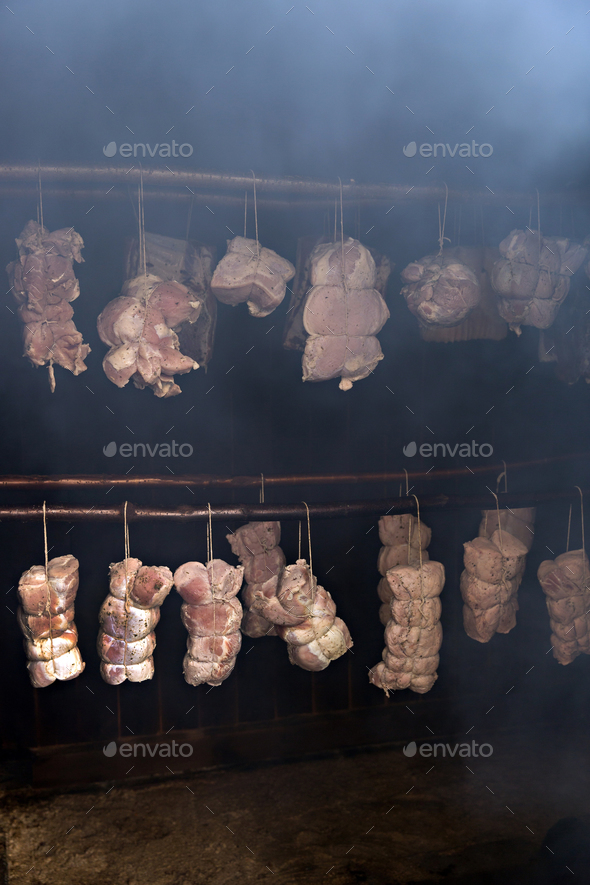 Meat smoking - Stock Photo - Images