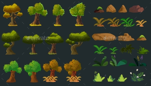 GraphicRiver Cartoon Nature Elements Set for You Design Vector 20806342