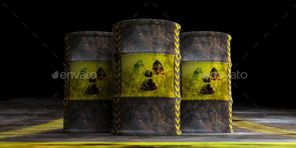 Radiation symbol on oil barrels, dark background. 3d illustration - Stock Photo - Images