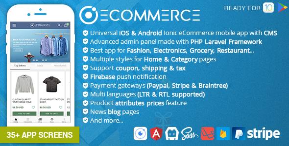 CodeCanyon Ionic Ecommerce Universal iOS & Android Ecommerce Store Mobile App with Laravel CMS 20757378