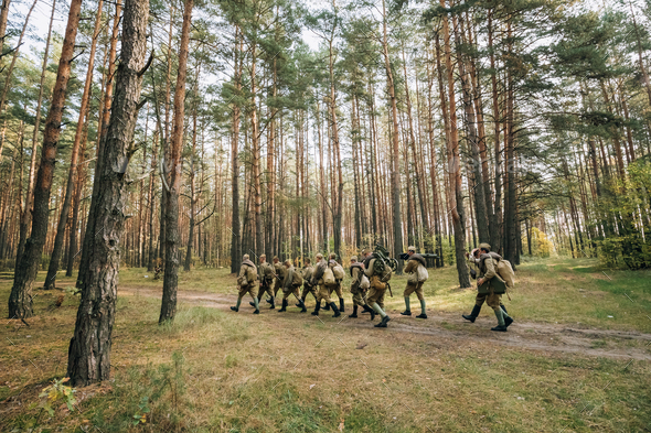 Group Of Re-enactors Dressed As Soviet Russian Red Army Infantry - Stock Photo - Images