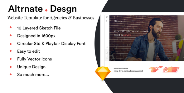 Altrnate Desgn website Design Template - Sketch Templates