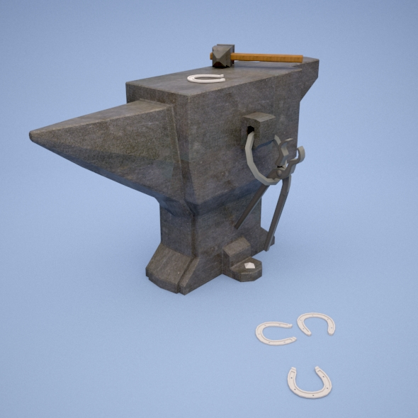 low poly Hammer and Anvil - 3DOcean Item for Sale