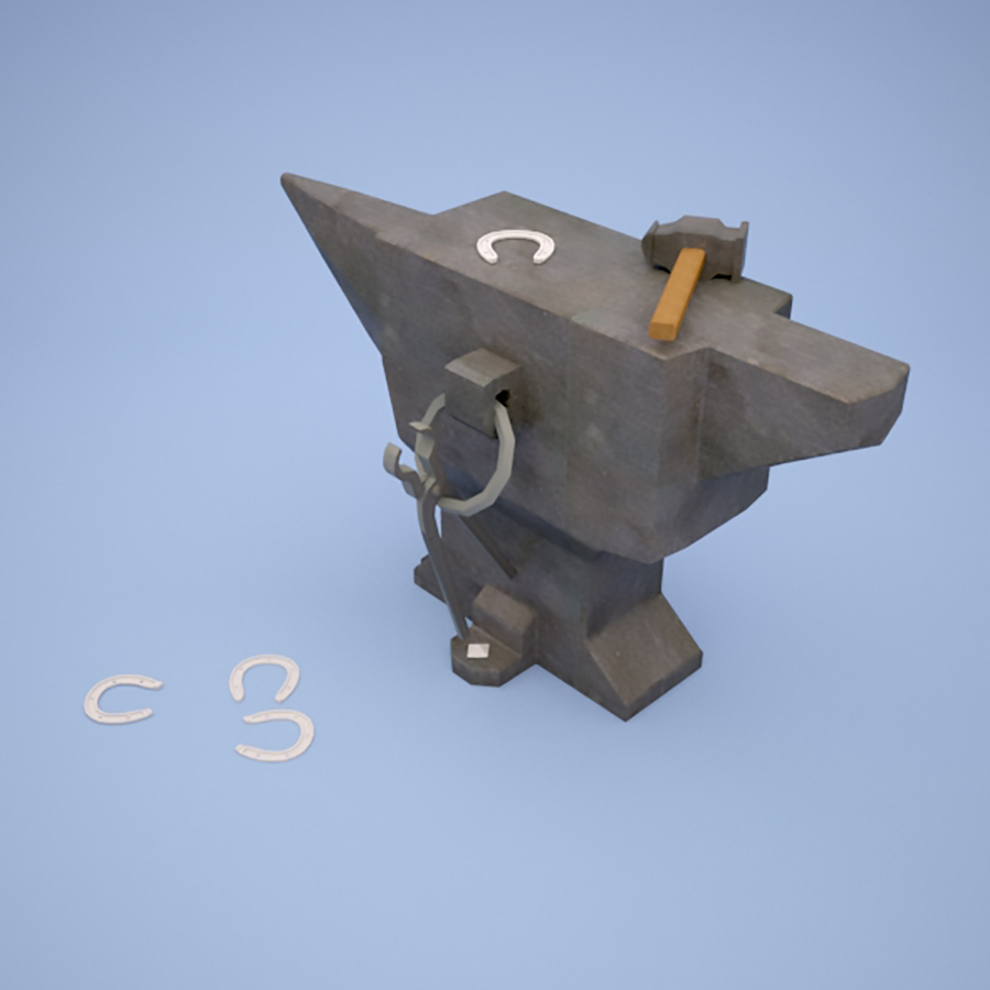 low poly Hammer and Anvil