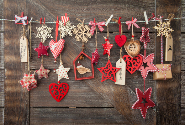 Christmas decorations on wooden background - Stock Photo - Images