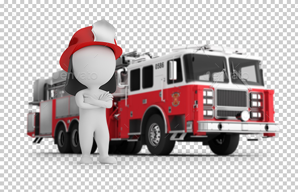 GraphicRiver 3D Small People Fireman and Fire Truck 20807048