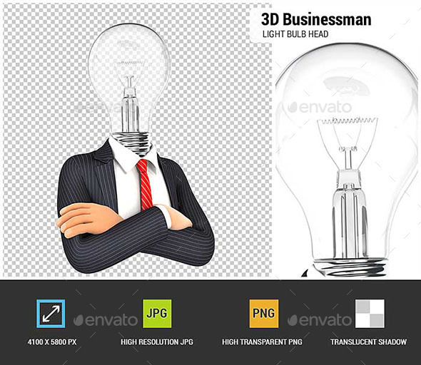 3D Businessman with Light Bulb Head - Characters 3D Renders