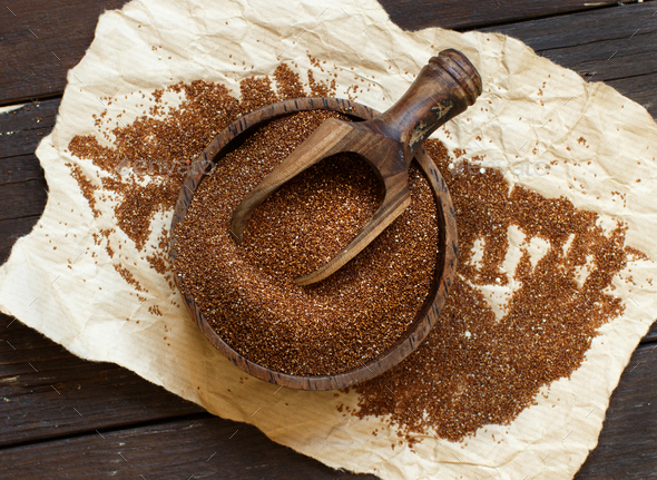 Pile of uncooked  teff grain - Stock Photo - Images